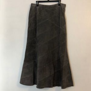 NWT- 💯 leather/suede long brown/grey skirt